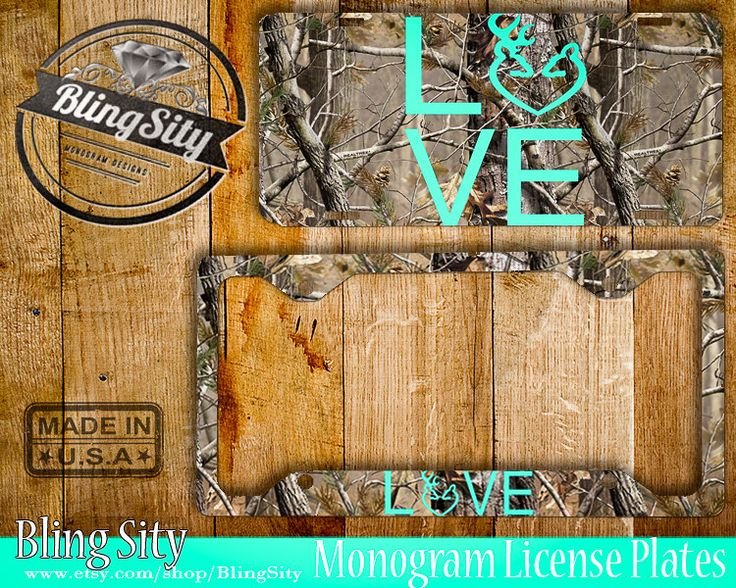 Camo Love License Plate Frame Holder Metal Wall Sign Car Front Tags Browning Buck and Doe Heart Custom Vanity RealTree Camo by BlingSity on Etsy
