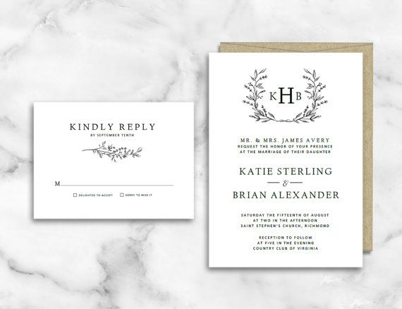 Monogram Wedding Invitation Template by PipkinPaperCompany
