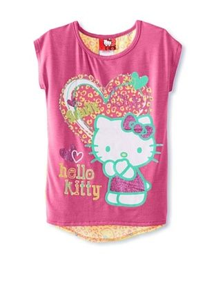67% OFF Hello Kitty Girl's Graphic T-Shirt with Chiffon Back (Carmine Rose)