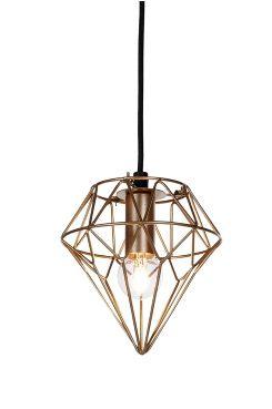Ellos Home Fönsterlampa Diamant Fönsterlampa i metall. Textilklädd sladd, sladdlängd 1,2 m med takkontakt. Höjd 17 cm. Ø 16 cm. E14. Max 40W.