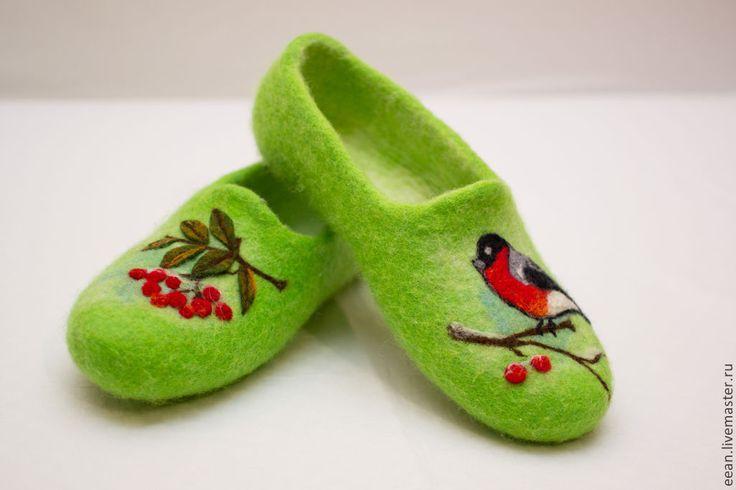 """♡ Купить Валяные домашние тапочки """"Снегирь"""" - зелёный, домашние тапочки, овечья шерсть"""