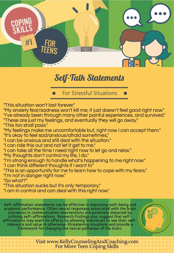 Positive self-talk affirmations for teens to cope with stressful situations and emotional overwhelm.