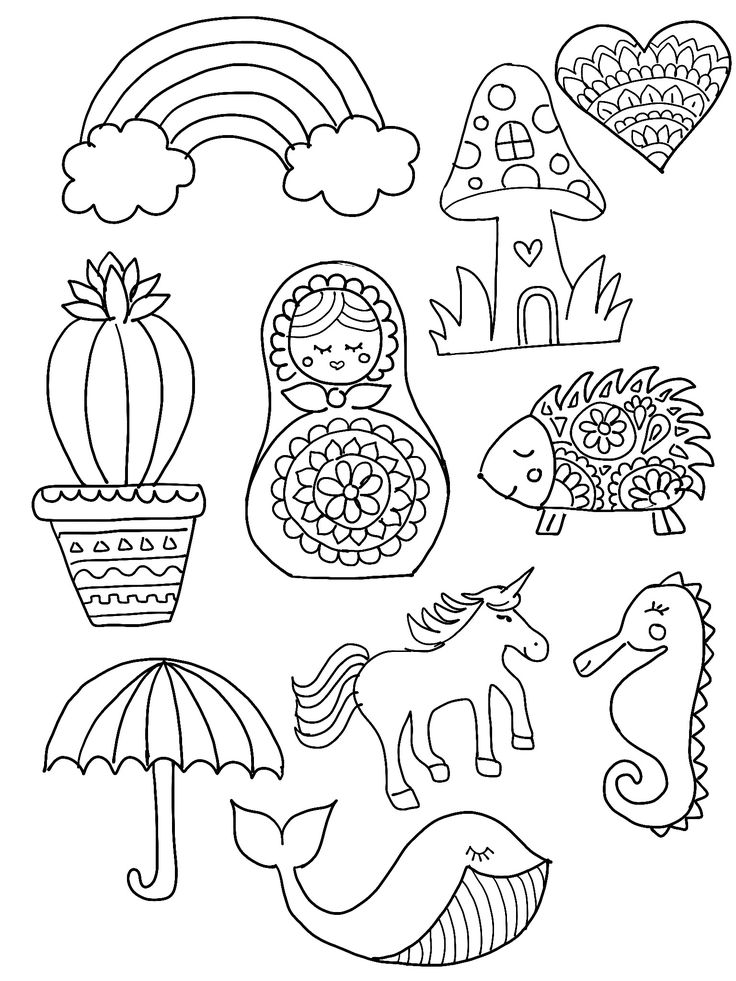 DIY Shrinky Dinks Template featuring rainbow, cactus, heart, hedgehog, mushroom…