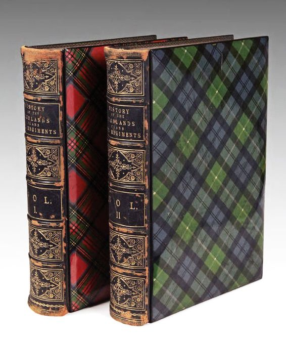 Antique Tartanware Books ~ A History of the Scottish Highlands, Highland Clans and Highland Regiments. Edinburgh A. Fullarton, 1875, 2 volumes.