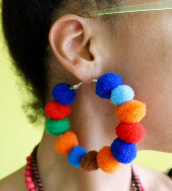PomPom Earrings  PomPom Hoop Earrings  Fluffy by PaixaoFortes