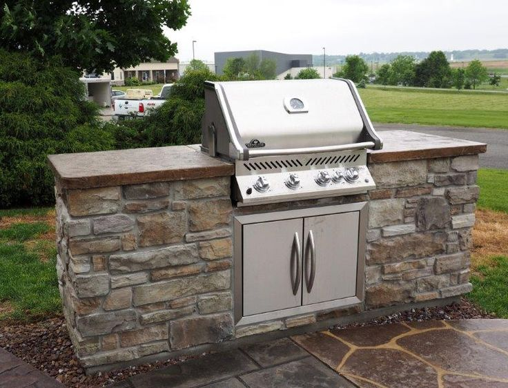Stone Veneer Grill Station With Concrete Countertop