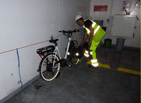 Lashing bike on Dover Calais ferry