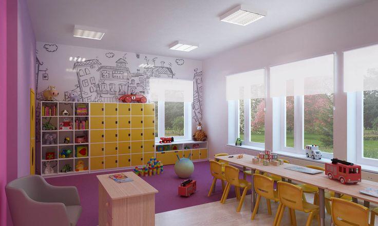 wizualizacja wnętrza jednej z sal przedszkola prywatnego.
