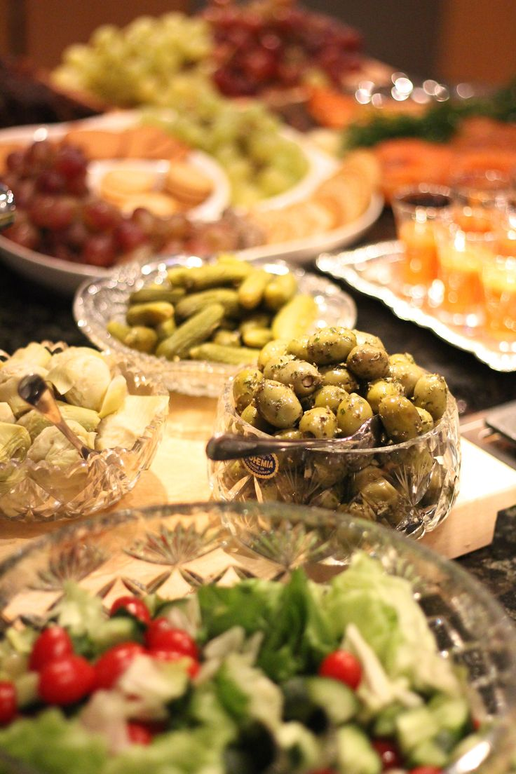 An assortment of different types of tapas plates is a great idea for business meetings and events. It looks great and tastes even better!