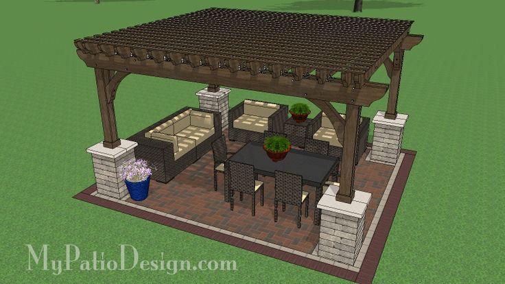 14 X 16 Cedar Pergola Design With Stone Columns Cedar Pergola Pergola Designs Pergola Swing