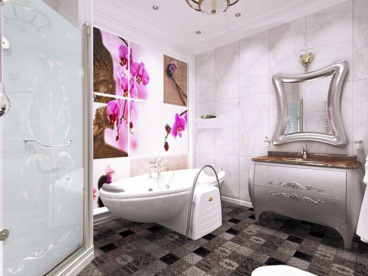 Оформление ванной комнаты: комплекс из цветочных скинали на стене, художественное матирование стекла душевой кабины.