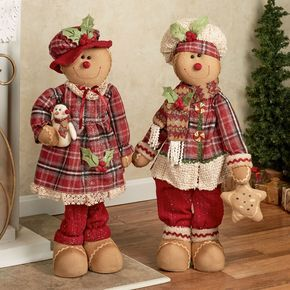 Gingerbread Kid Figures Burgundy Set of Two