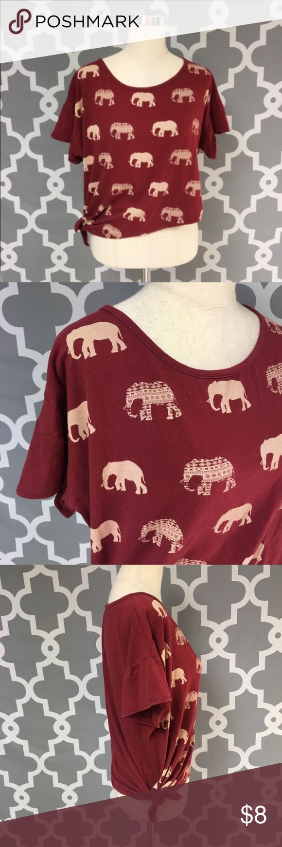 Asymmetrical Oversized Elephant Tie Front Top 🔘Description Tea n Rose Asymmetrical Oversized Elephant Crop Top juniors size large good used condition color is cream and burgundy  🔘Measurements: Pit to Pit: 24 inches      Shoulder to Hem: 19 inches                             Inventory: A  Thanks for stopping by! Tops