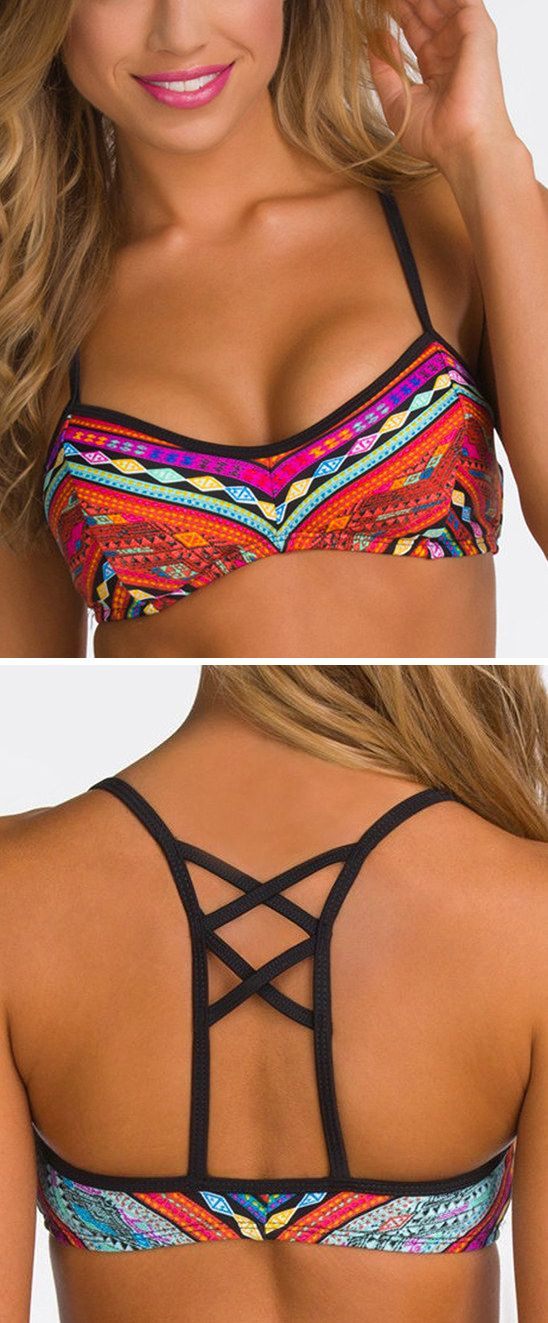 Cute Bikini Top! I would love this, I hate having the ones that tie around the neck, my chest is too big to be pulling on my neck like that!