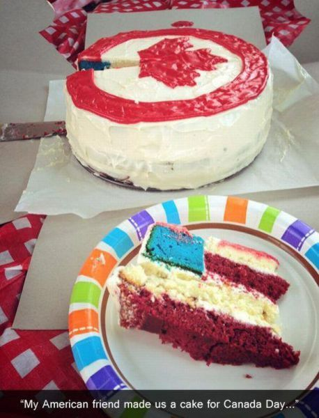 An American friend made their Canadian cohorts a Canada Day cake...
