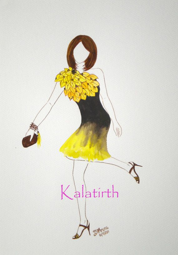 Fashion illustration in watercolor  yellow and brown by Kalatirth, $50.00