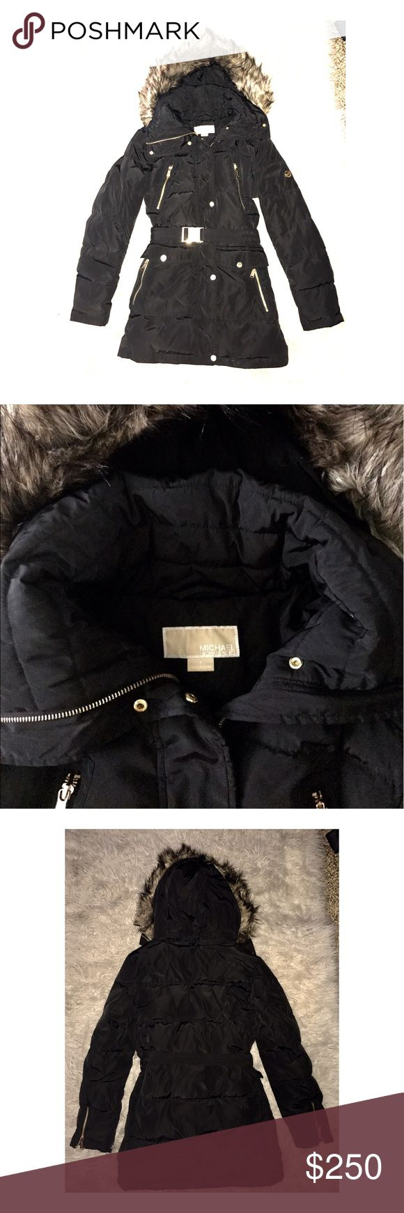 Michael Kors puffer coat Michael Kors Black Faux Fur Hooded Belted Puffer Down Coat. Removable zip-off hood Down and feathers fill Zipper closure with snap overlay at front Shell & lining:polyester; fill: down/feathers; faux-fur-trim: modacrylic/acrylic ,Machine washable. Michael Kors Jackets & Coats Puffers