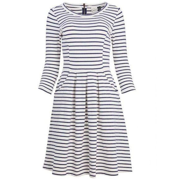Gigi Jersey Breton Stripe Dress | Vintage-inspired | Joanie Clothing ($45) ❤ liked on Polyvore featuring dresses, stretchy dresses, vintage style dresses, white dresses, striped jersey and white jersey