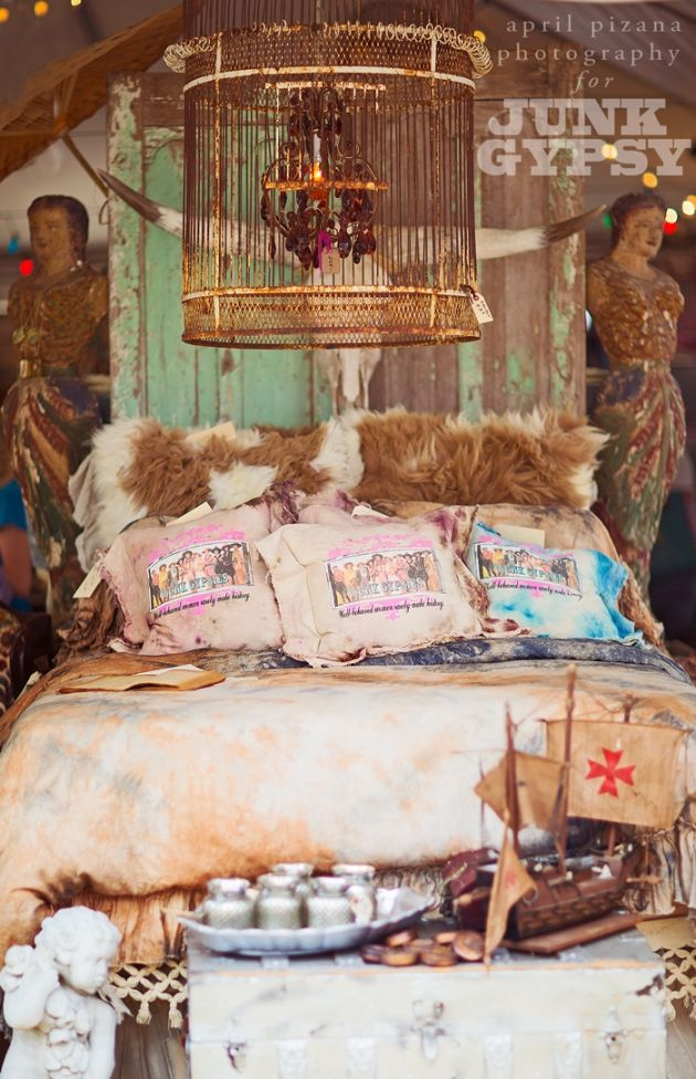 {Under the Big Top » Photography by April Pizana} . . . birdcage turned chandelier. OLD doors as a headboard!