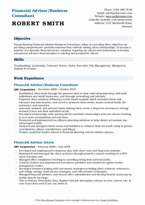 Financial Advisor Resume Sample New Financial Advisor Resume Samples Financial Advisors Sales Resume Examples Sales Resume
