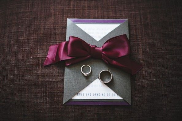 Grey, white and purple invitation photo by Dallas Kolotylo Photography (Vancouver, BC)
