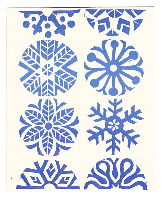 $18.00 - set of five Blue Snowflakes linocut block-printed greeting cards
