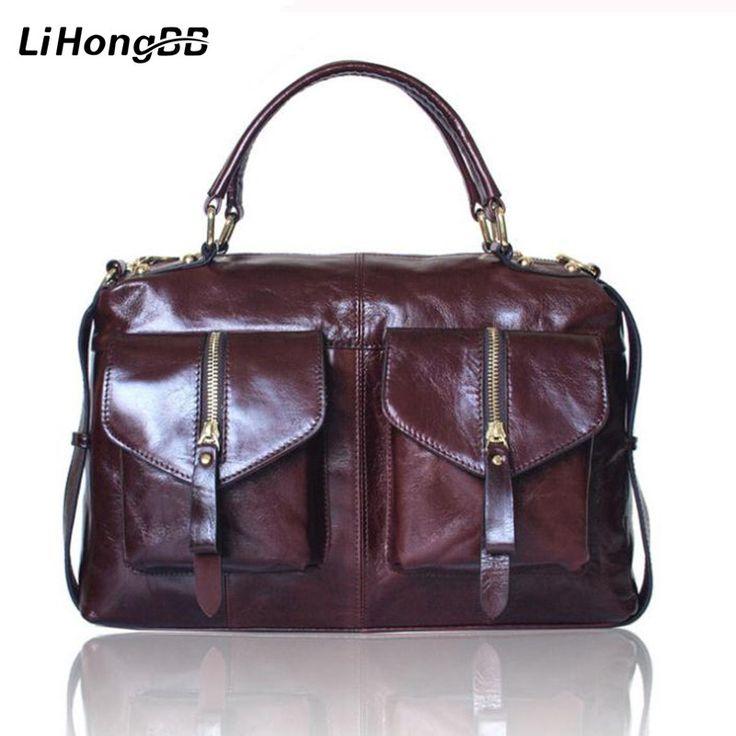 Hoge Kwaliteit Vrouwen Bag Lederen Handtassen voor Dames Vintage Bakken Olie Wax Handtas Vrouwelijke Schoudertas Jurk Aktetas