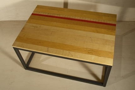 Recycled squash court floor coffee table
