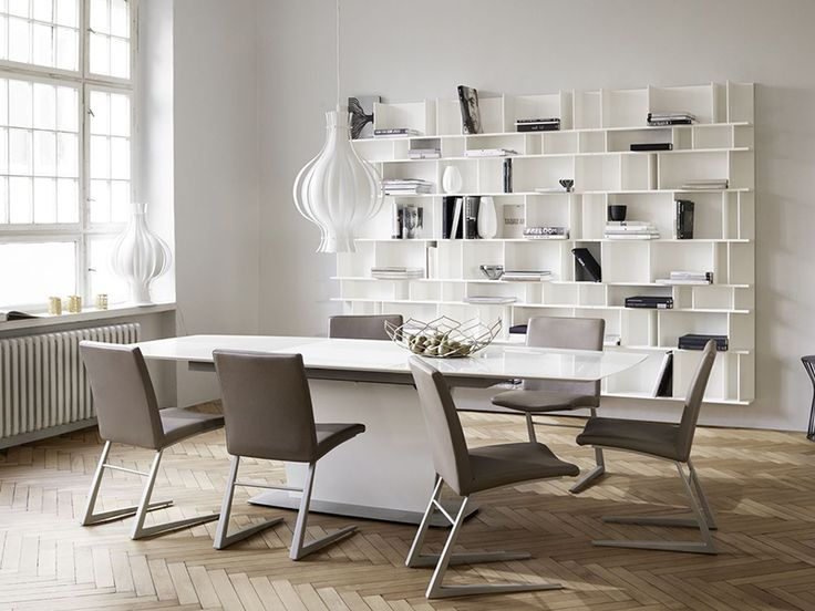 Milano white designer dining table - extendable