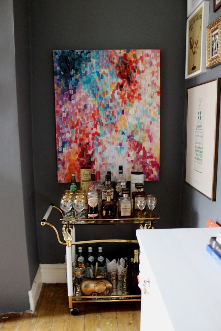 Bar Cart + Abstract Painting