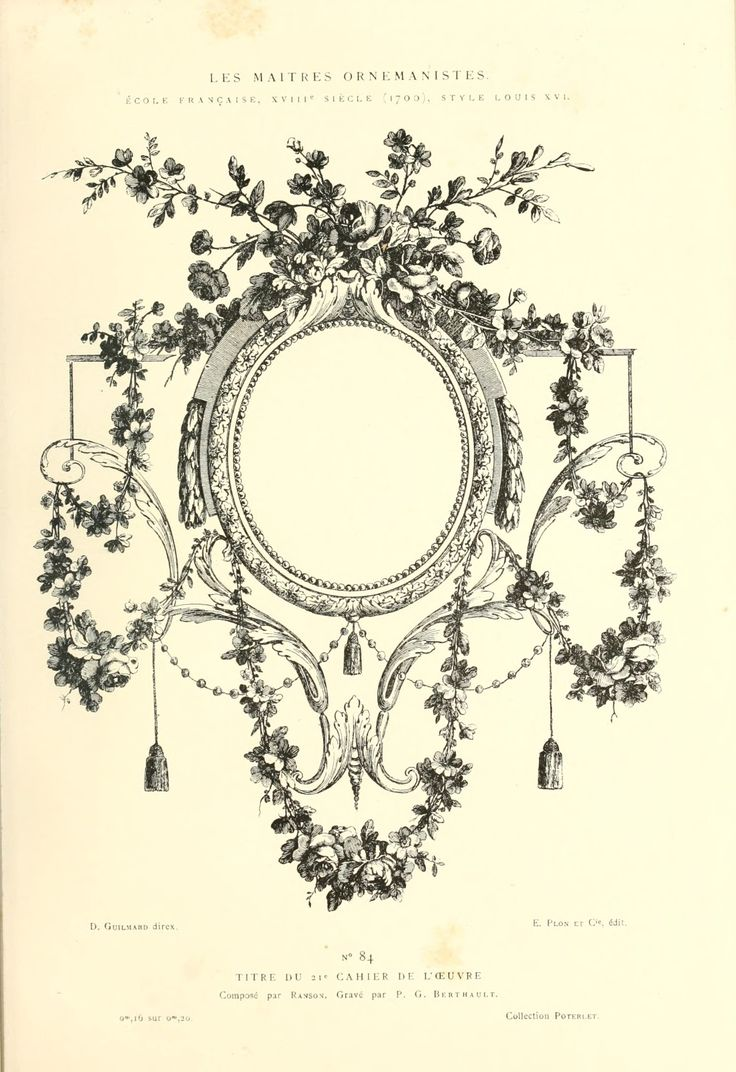 Printable - Engraving; French Decorative Floral Frame, 1880  300ppi, 7x10""