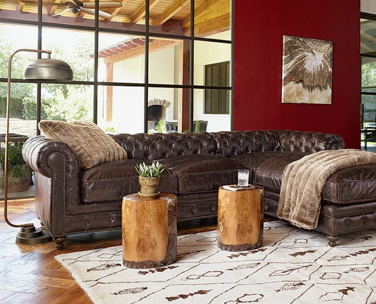 Brown Leather Tufted Leather Sectional Living Room Ideas