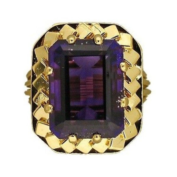 Pre-owned Vintage Rare 18K Yellow Gold with 6.0ct Reddish Purple... (4.020 BRL) ❤ liked on Polyvore featuring jewelry, rings, purple gold ring, gold rings, wire rings, vintage amethyst ring and 18k ring