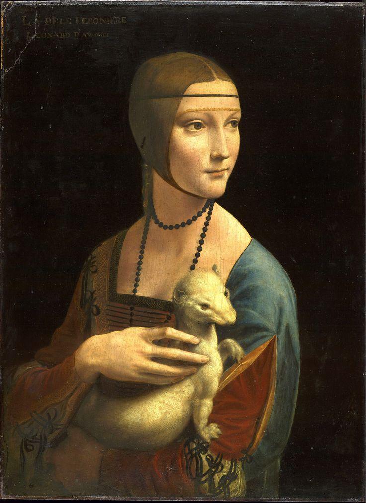 Leonardo Da Vinci (1452-1519). Portrait of Cecilia Gallerani(Lady with an Ermine). Oil on Panel,54×39cm(1483-1490), Château du Wawel, Cracovie-Czartoryski Museum,Cracow. [ LA BELE FERONIERE LEONARD D AWINCI]