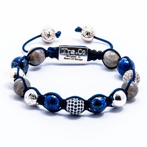 Blue lapis & Labradorite & Blue Zircon ball & Silver plating