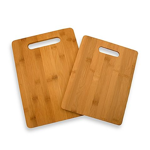 This two-piece bamboo cutting board set can be used as traditional cutting boards in food preparation or convenient fruit cutting boards at your bar or buffet area.