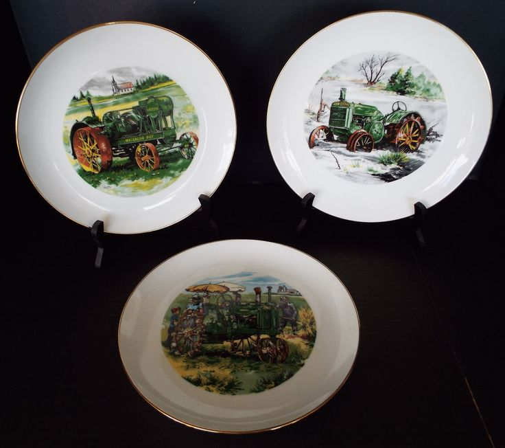 3 John Deere Credit Union Collector Plates Ltd Ed 1983-85 Waterloo Iowa Lot A