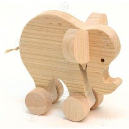 Wooden Elephant on Wheels