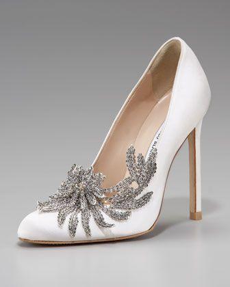 Incredible Swan Embellished White Satin Pump by Manolo Blahnik. -- Grace Ormonde Wedding Style