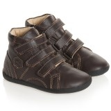Brown Leather Velcro High-Top Trainers