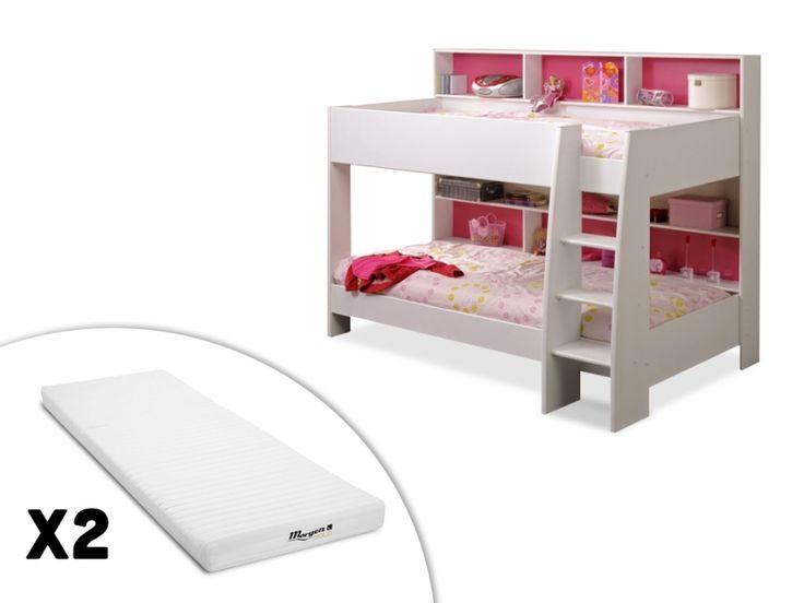 lits superposs lenny 2x90x200cm etagres fond rversible bleu ou rose avec ou