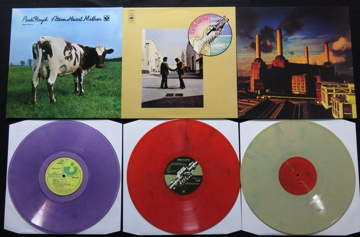 Online veilinghuis Catawiki: Pink Floyd - Great lot of 3 classic albums, all on coloured vinyl! * Atom Heart Mother / Wish You were Here / Animals *