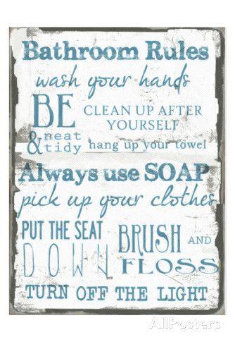 Regole della stanza da bagno, bianco, in inglese Stampe di Taylor Greene su AllPosters.it