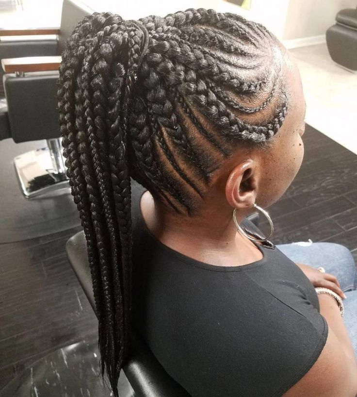 Ponytail with Thin and Thick Cornrows #goddessbraids  – goddess braids – #Braids…   – Braid Recipes
