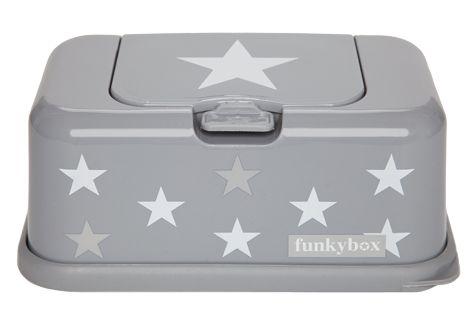 קופסת מגבונים מעוצבת- אפור עם כוכבים