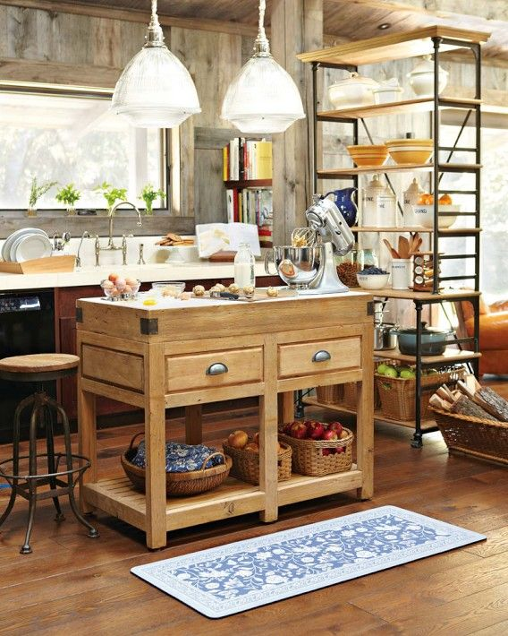Roots Rack Kitchen Cart Pine: Baking In Session At The Rustic Pine Kitchen Island