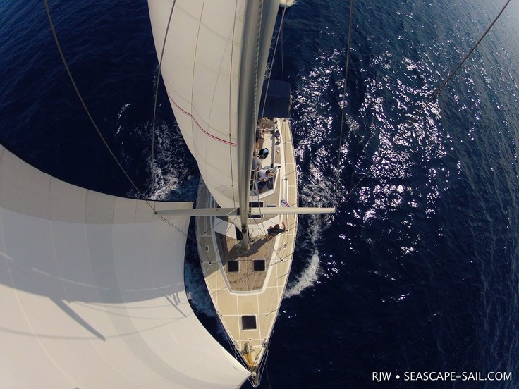 Sailing in Greece:  Enjoying some spectacular conditions on Anna Maria as we head to Patmos.