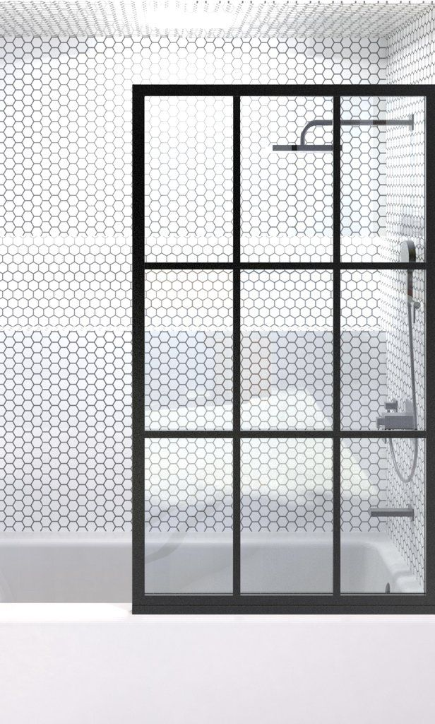 Gridscape Gs1 Shower Screen For Tub In Black With Clear Glass Corner Shower Doors Half Glass Shower Door Tub Shower Doors