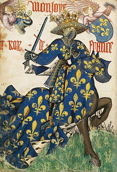 Le roi de France, Grand Armorial équestre de la Toison d'Or, Flandres, 1430-1461.