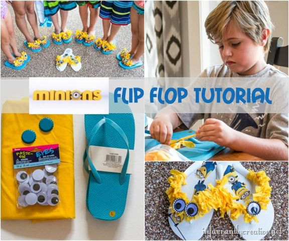 DIY Crafts for Kids | Minion Flip-Flops | How fun to make these with your kiddos and then wear them to see the movie!